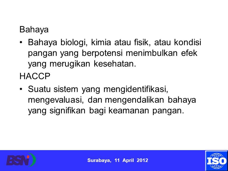 Surabaya, 11 April 2012 Bahaya Bahaya biologi, kimia atau fisik, atau kondisi pangan yang berpotensi menimbulkan efek yang merugikan kesehatan. HACCP