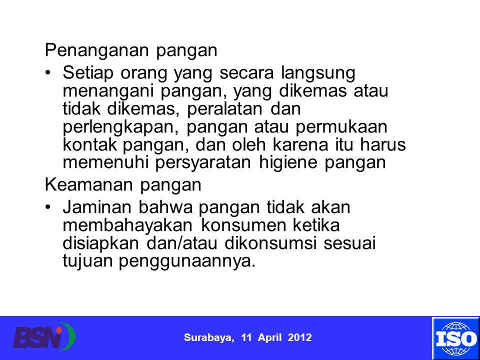 Surabaya, 11 April 2012 Penanganan pangan Setiap orang yang secara langsung menangani pangan, yang dikemas atau tidak dikemas, peralatan dan perlengka