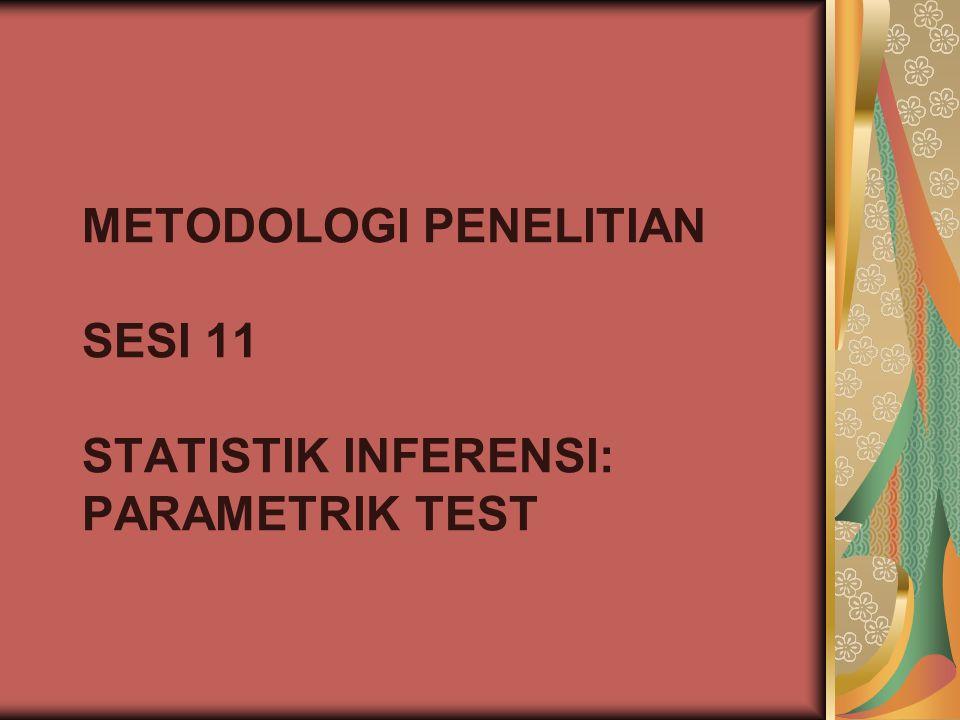 METODOLOGI PENELITIAN SESI 11 STATISTIK INFERENSI: PARAMETRIK TEST