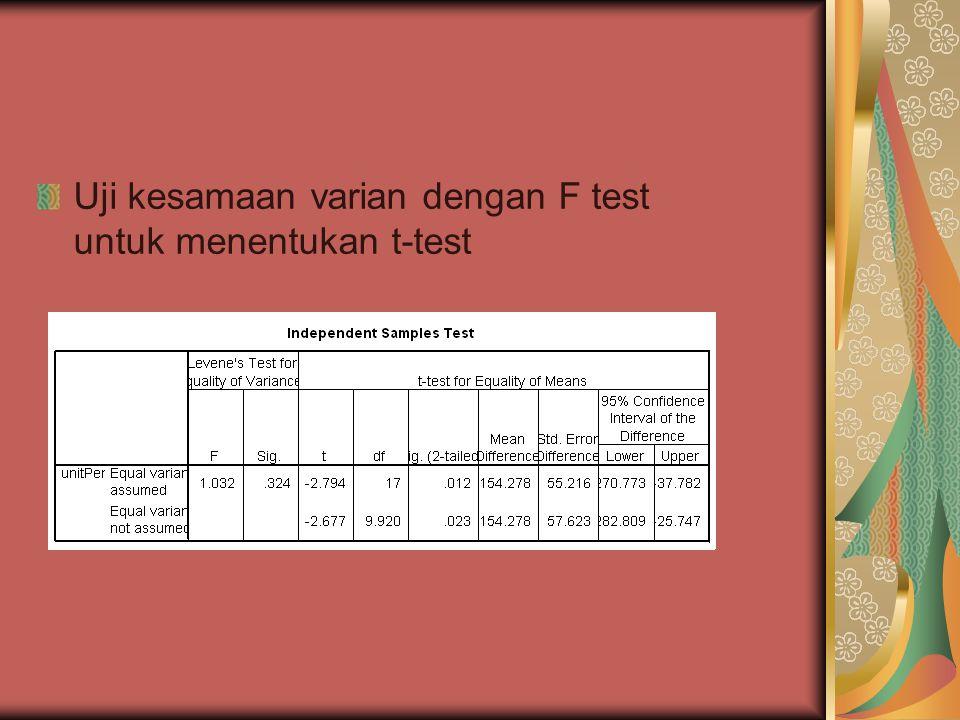 Uji kesamaan varian dengan F test untuk menentukan t-test