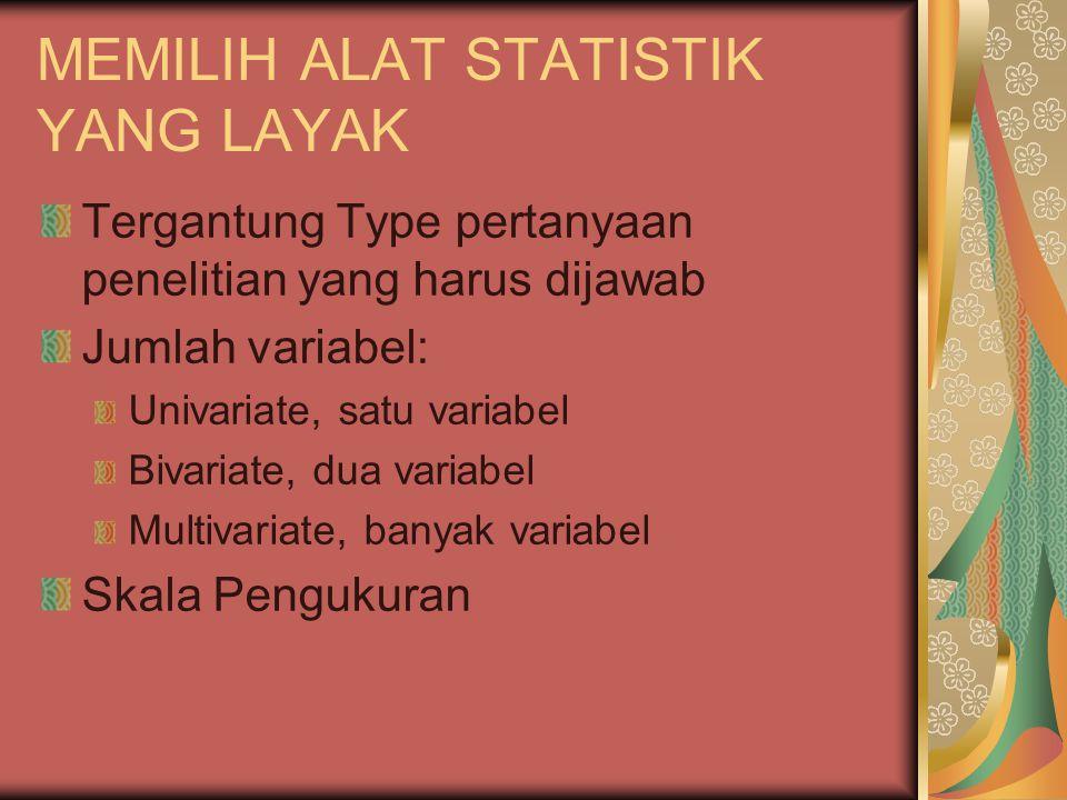 MEMILIH ALAT STATISTIK YANG LAYAK Tergantung Type pertanyaan penelitian yang harus dijawab Jumlah variabel: Univariate, satu variabel Bivariate, dua variabel Multivariate, banyak variabel Skala Pengukuran