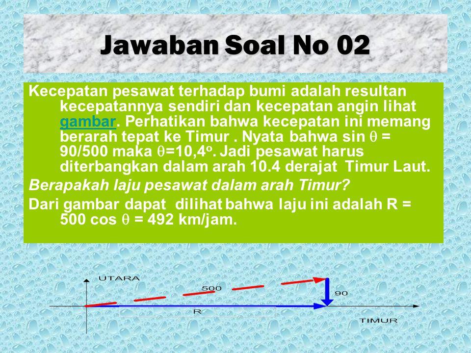 Jawaban Soal No 03 a)Jika seandainya air sungai tidak mengalir, laju perahu terhadap pengamat adalah 8 km/jam.