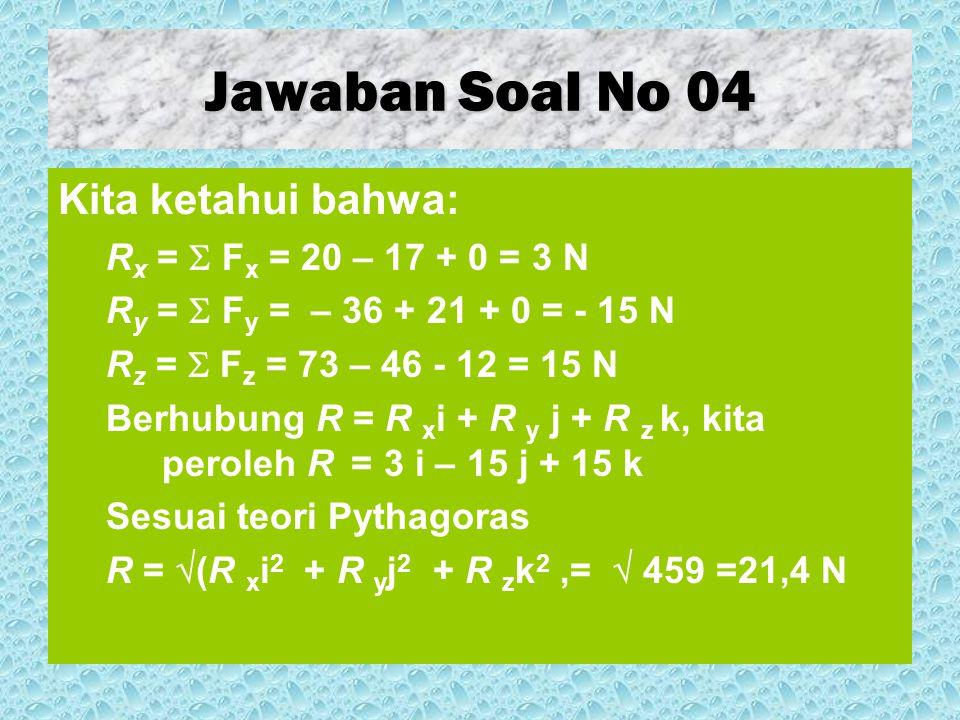Jawaban Soal No 05 Dari segi pendekatan matematis murni kita memperoleh bahwa: B - A = ( - 3 j + 7 k ) – (-12 i + 25 j + 13 k) = – 3 j + 7 k + 12 i - 25 j - 13 k = 12 i - 28 j - 6 k Perhatikan bahwa 12 i - 25 j - 13 k adalah A dengan arah terbalik.