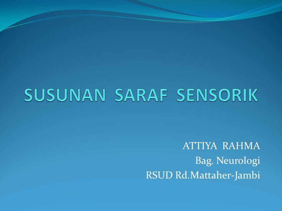 Mahasiswa mampu menjelaskan persarafan system sensoris dan melakukan pemeriksaan system sensoris (protopatik dan proprioseptif).