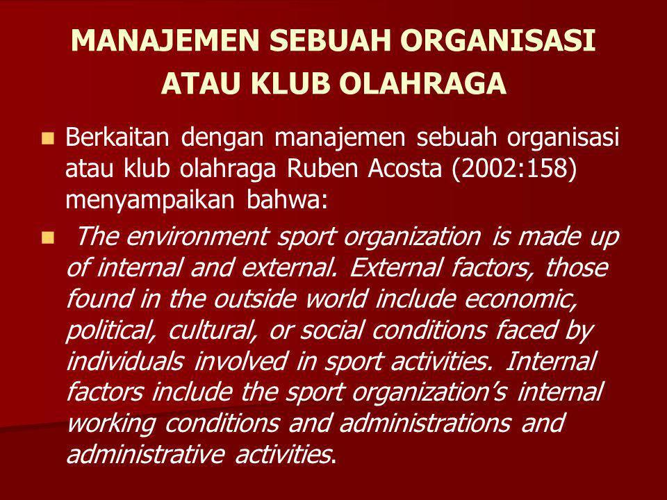 MANAJEMEN SEBUAH ORGANISASI ATAU KLUB OLAHRAGA Berkaitan dengan manajemen sebuah organisasi atau klub olahraga Ruben Acosta (2002:158) menyampaikan bahwa: The environment sport organization is made up of internal and external.