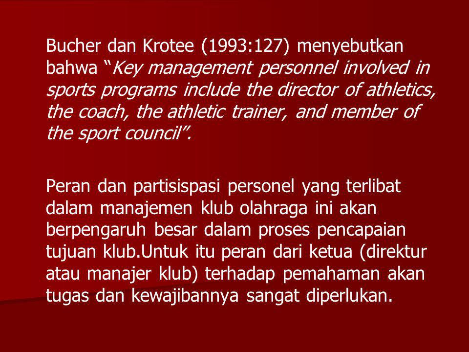 "Bucher dan Krotee (1993:127) menyebutkan bahwa ""Key management personnel involved in sports programs include the director of athletics, the coach, the"