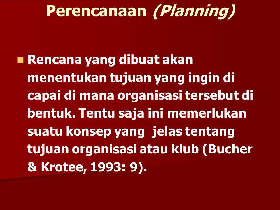 Perencanaan (Planning) Rencana yang dibuat akan menentukan tujuan yang ingin di capai di mana organisasi tersebut di bentuk. Tentu saja ini memerlukan