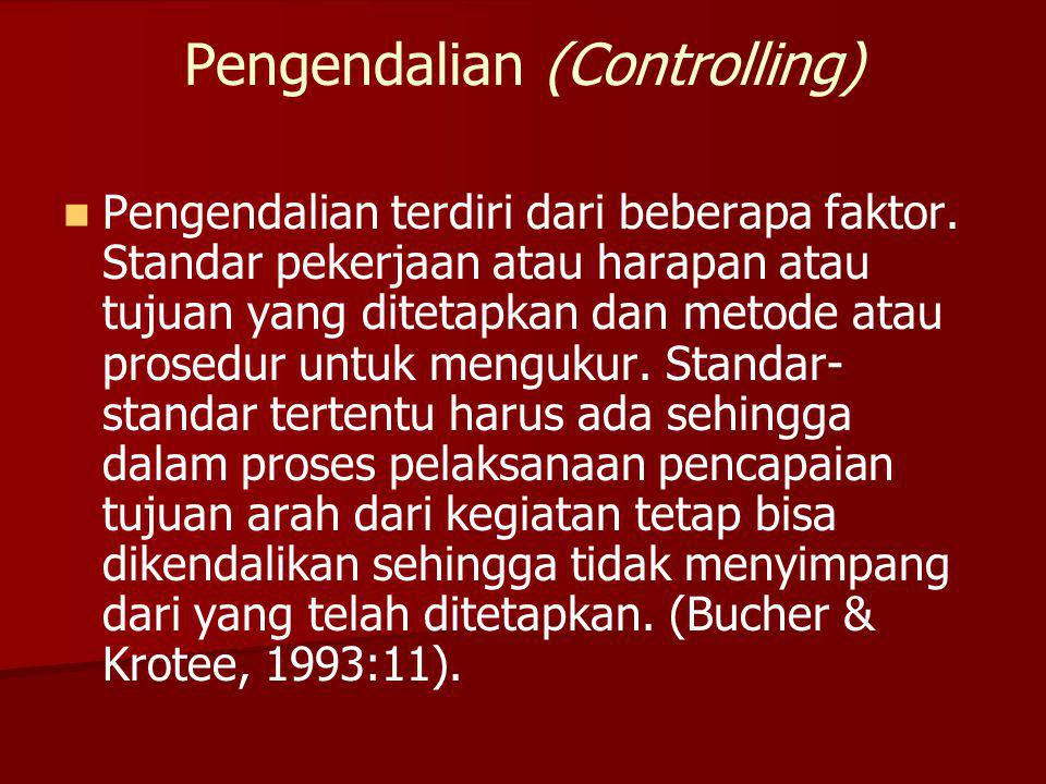 Pengendalian (Controlling) Pengendalian terdiri dari beberapa faktor. Standar pekerjaan atau harapan atau tujuan yang ditetapkan dan metode atau prose
