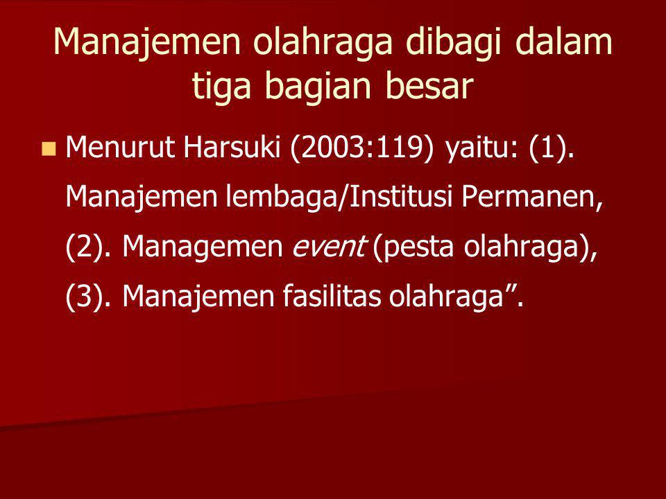 Manajemen olahraga dibagi dalam tiga bagian besar Menurut Harsuki (2003:119) yaitu: (1). Manajemen lembaga/Institusi Permanen, (2). Managemen event (p