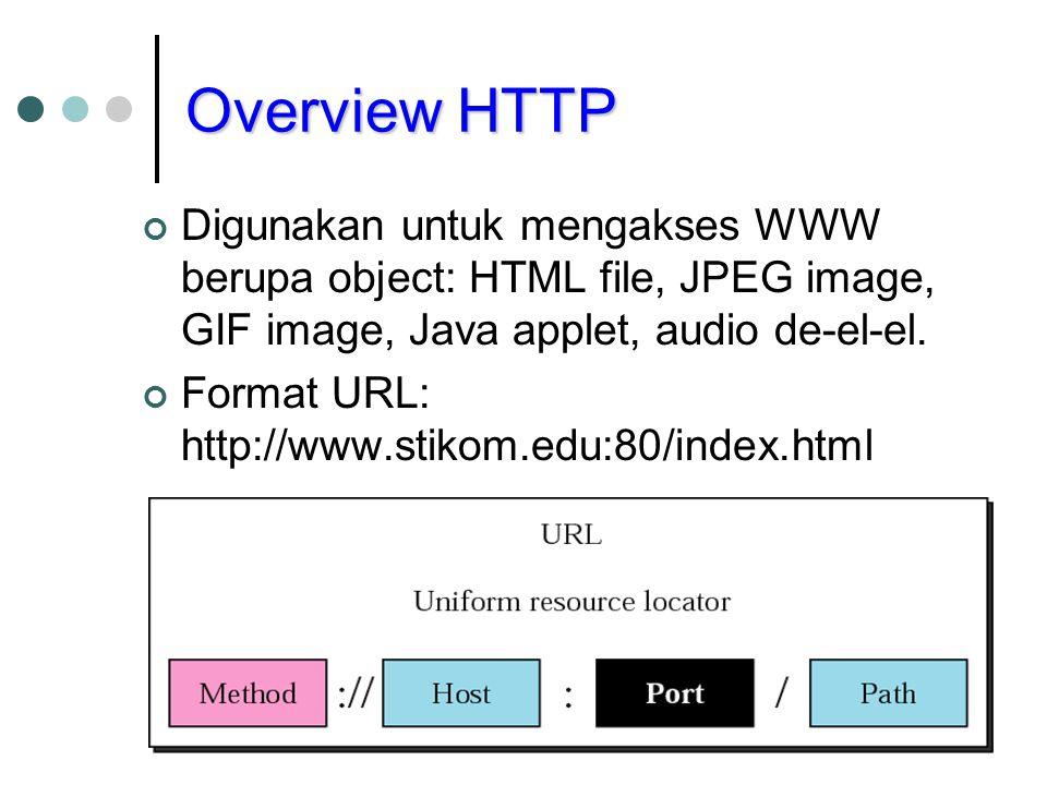 Overview HTTP Digunakan untuk mengakses WWW berupa object: HTML file, JPEG image, GIF image, Java applet, audio de-el-el. Format URL: http://www.stiko
