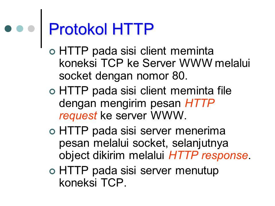 Protokol HTTP HTTP pada sisi client meminta koneksi TCP ke Server WWW melalui socket dengan nomor 80. HTTP pada sisi client meminta file dengan mengir