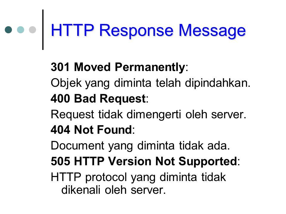 HTTP Response Message 301 Moved Permanently: Objek yang diminta telah dipindahkan.