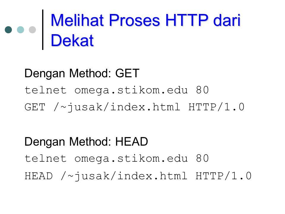 Melihat Proses HTTP dari Dekat Dengan Method: GET telnet omega.stikom.edu 80 GET /~jusak/index.html HTTP/1.0 Dengan Method: HEAD telnet omega.stikom.edu 80 HEAD /~jusak/index.html HTTP/1.0