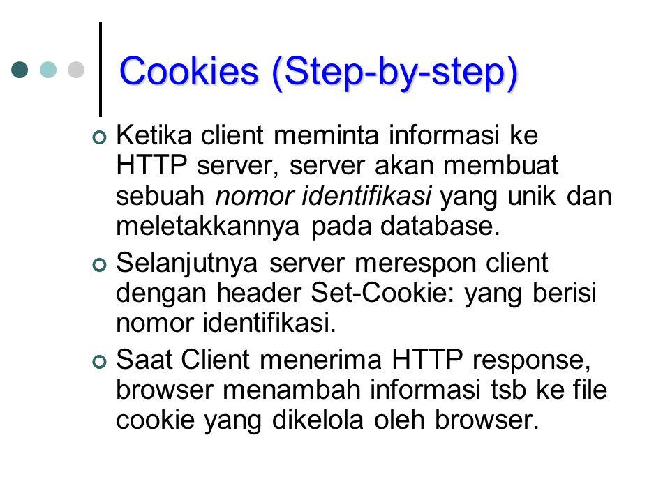 Cookies (Step-by-step) Ketika client meminta informasi ke HTTP server, server akan membuat sebuah nomor identifikasi yang unik dan meletakkannya pada