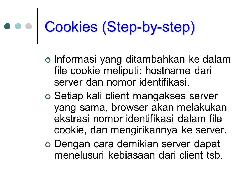 Cookies (Step-by-step) Informasi yang ditambahkan ke dalam file cookie meliputi: hostname dari server dan nomor identifikasi. Setiap kali client manga