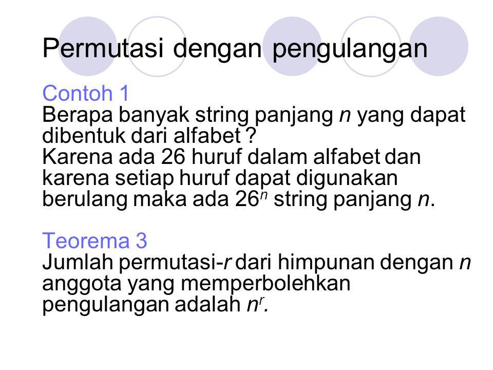 Permutasi dengan pengulangan Contoh 1 Berapa banyak string panjang n yang dapat dibentuk dari alfabet ? Karena ada 26 huruf dalam alfabet dan karena s