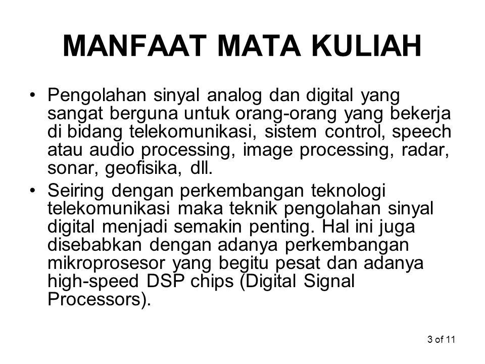 3 of 11 MANFAAT MATA KULIAH Pengolahan sinyal analog dan digital yang sangat berguna untuk orang-orang yang bekerja di bidang telekomunikasi, sistem c