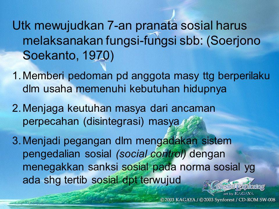 Utk mewujudkan 7-an pranata sosial harus melaksanakan fungsi-fungsi sbb: (Soerjono Soekanto, 1970) 1.Memberi pedoman pd anggota masy ttg berperilaku d