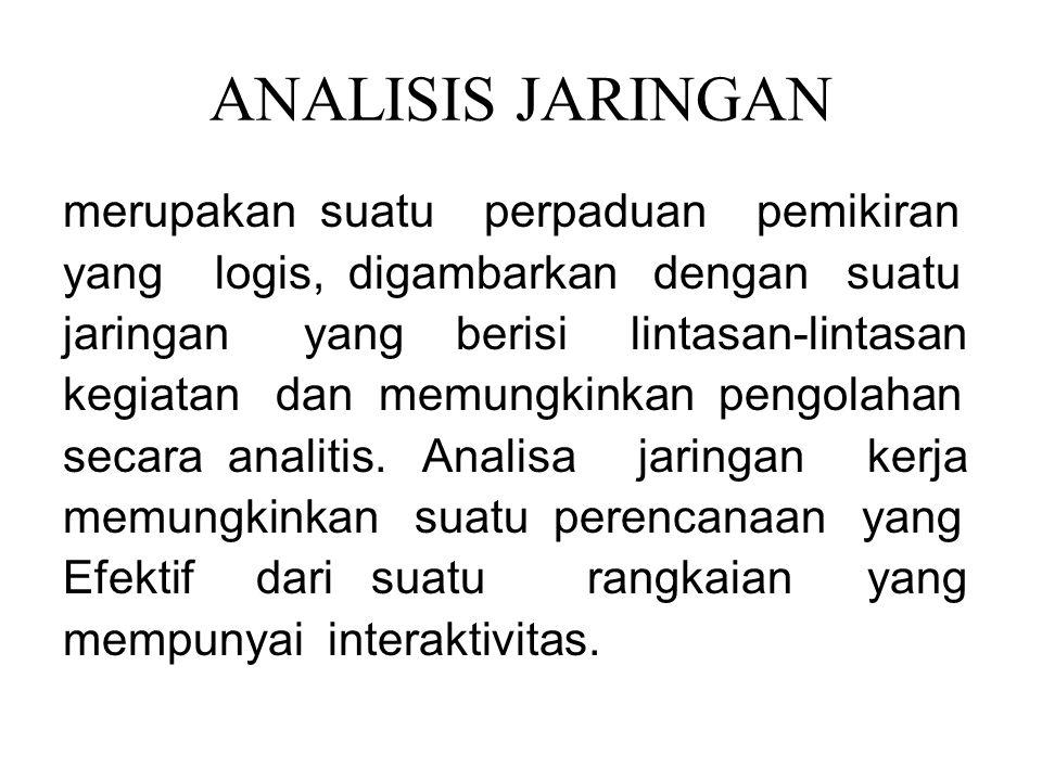 ANALISIS JARINGAN merupakan suatu perpaduan pemikiran yang logis, digambarkan dengan suatu jaringan yang berisi lintasan-lintasan kegiatan dan memungkinkan pengolahan secara analitis.