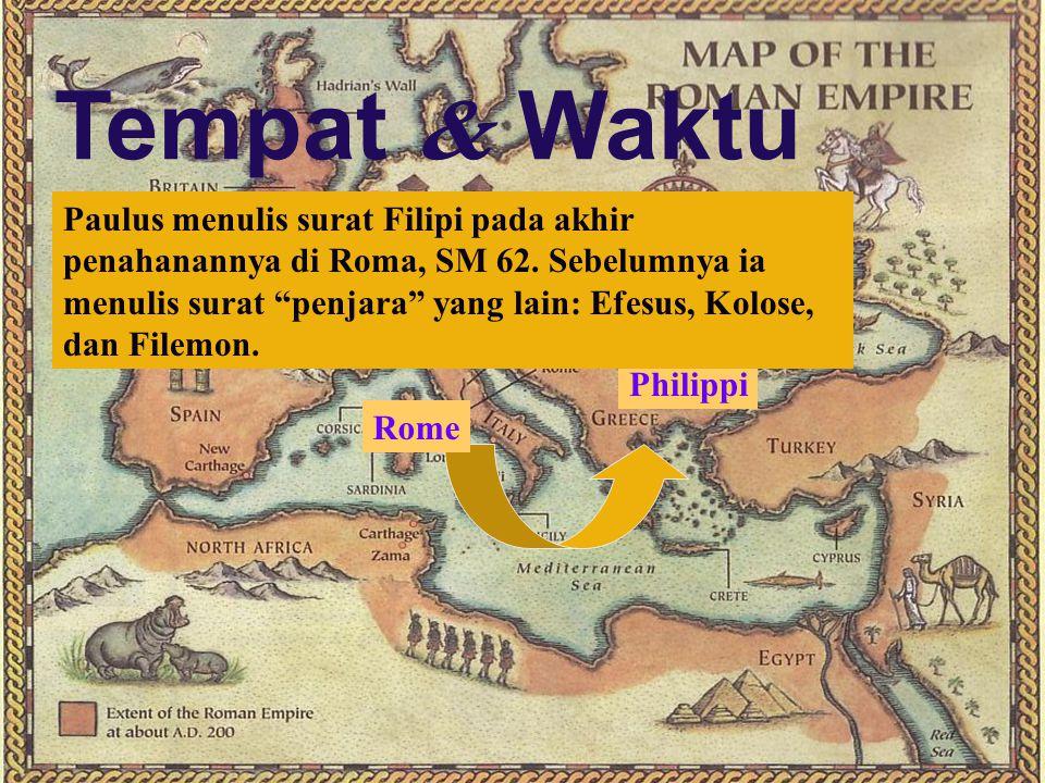 182 Waktu penulisan  Paulus menyebutkan tentang penahanannya di Roma, yang menempatkan surat ditulis selama penahanan di Roma yang pertama (SM 60-62)