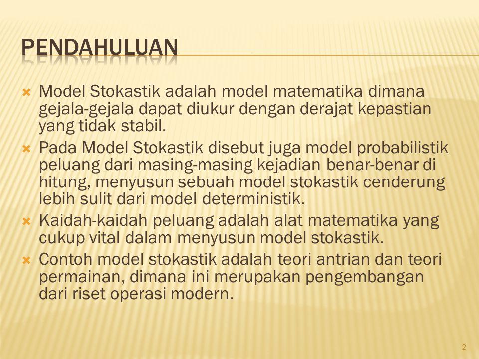  Model Stokastik adalah model matematika dimana gejala-gejala dapat diukur dengan derajat kepastian yang tidak stabil.  Pada Model Stokastik disebut