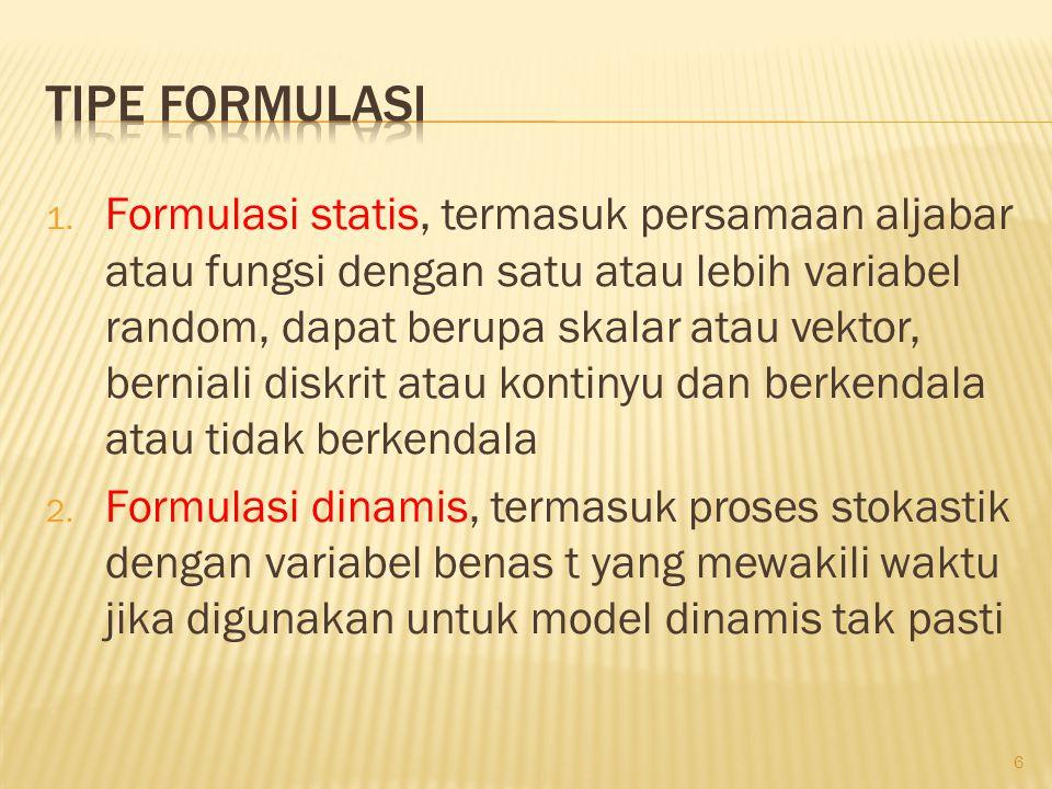 1. Formulasi statis, termasuk persamaan aljabar atau fungsi dengan satu atau lebih variabel random, dapat berupa skalar atau vektor, berniali diskrit