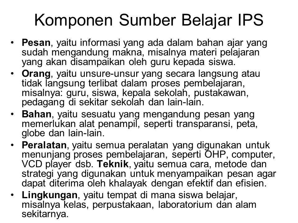Komponen Sumber Belajar IPS Pesan, yaitu informasi yang ada dalam bahan ajar yang sudah mengandung makna, misalnya materi pelajaran yang akan disampai