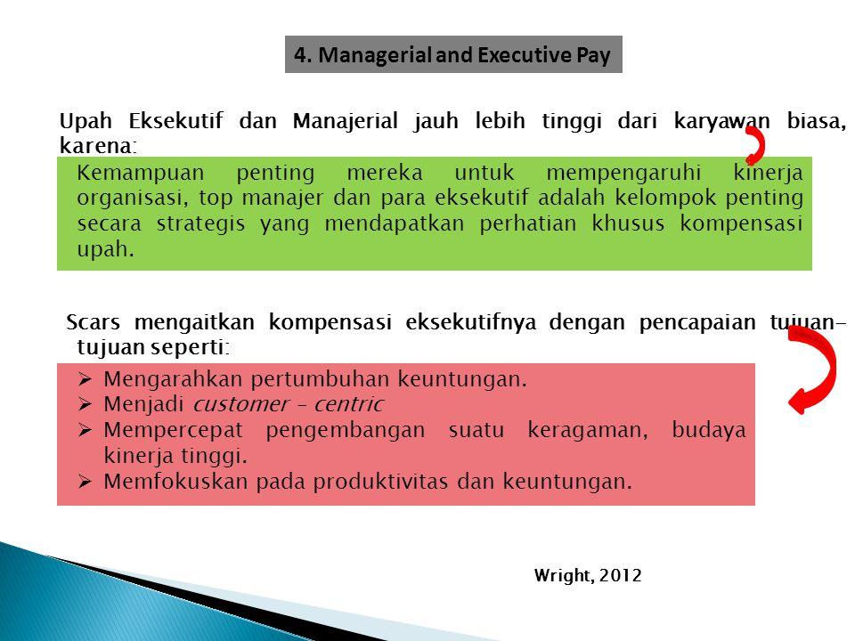 Upah Eksekutif dan Manajerial jauh lebih tinggi dari karyawan biasa, karena: Kemampuan penting mereka untuk mempengaruhi kinerja organisasi, top manaj