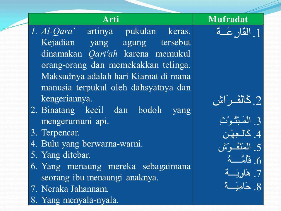 ArtiMufradat 1.Al-Qara' artinya pukulan keras. Kejadian yang agung tersebut dinamakan Qari'ah karena memukul orang-orang dan memekakkan telinga. Maksu