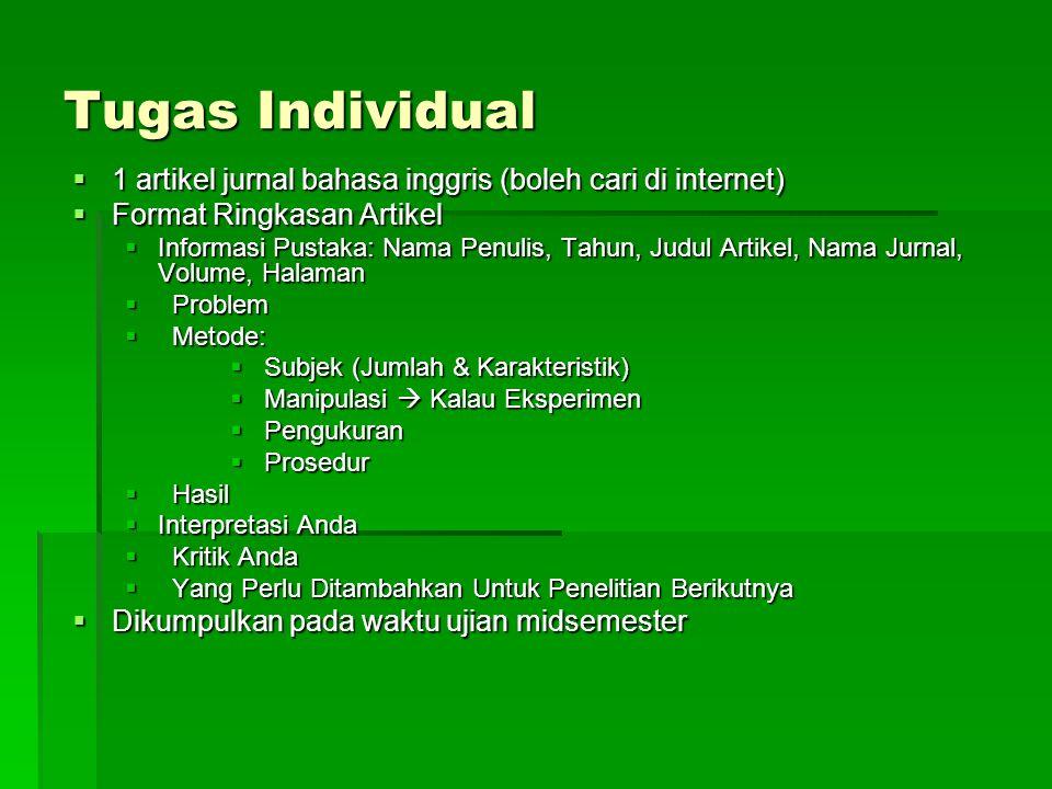 Tugas Individual  1 artikel jurnal bahasa inggris (boleh cari di internet)  Format Ringkasan Artikel  Informasi Pustaka: Nama Penulis, Tahun, Judul
