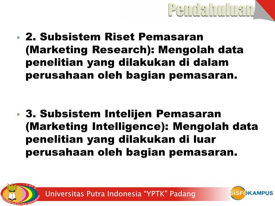  2. Subsistem Riset Pemasaran (Marketing Research): Mengolah data penelitian yang dilakukan di dalam perusahaan oleh bagian pemasaran.  3. Subsistem