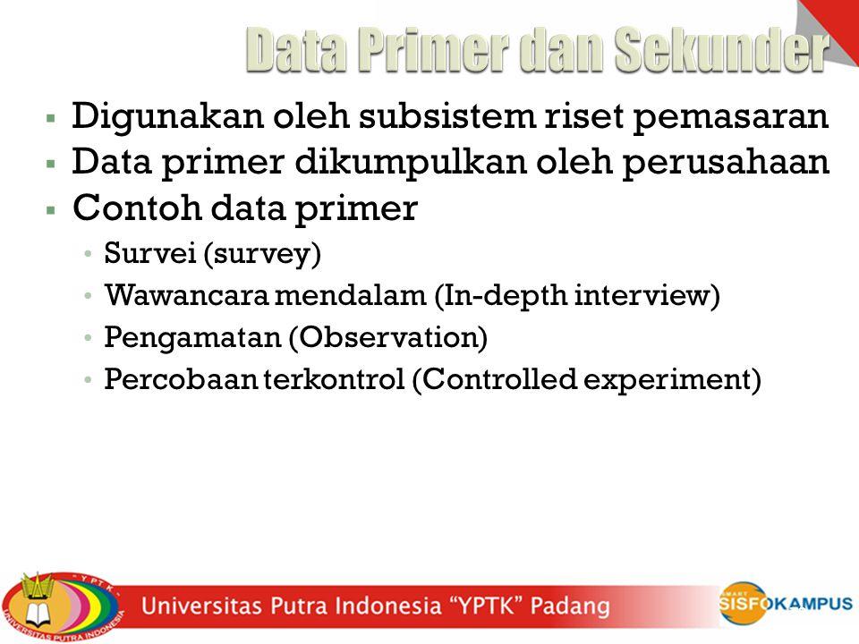  Digunakan oleh subsistem riset pemasaran  Data primer dikumpulkan oleh perusahaan  Contoh data primer Survei (survey) Wawancara mendalam (In-depth