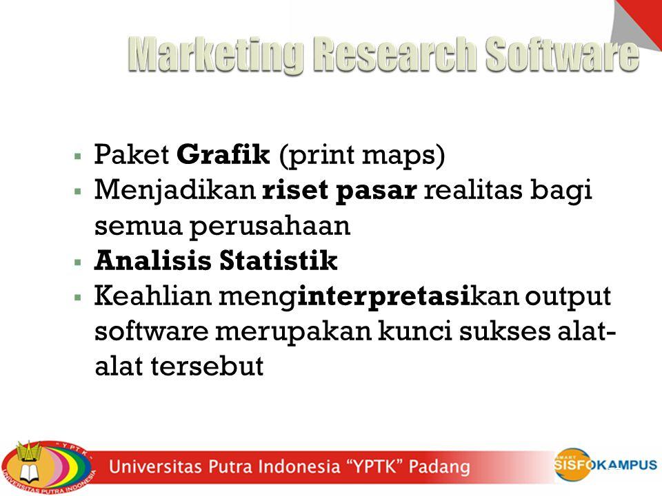  Paket Grafik (print maps)  Menjadikan riset pasar realitas bagi semua perusahaan  Analisis Statistik  Keahlian menginterpretasikan output softwar