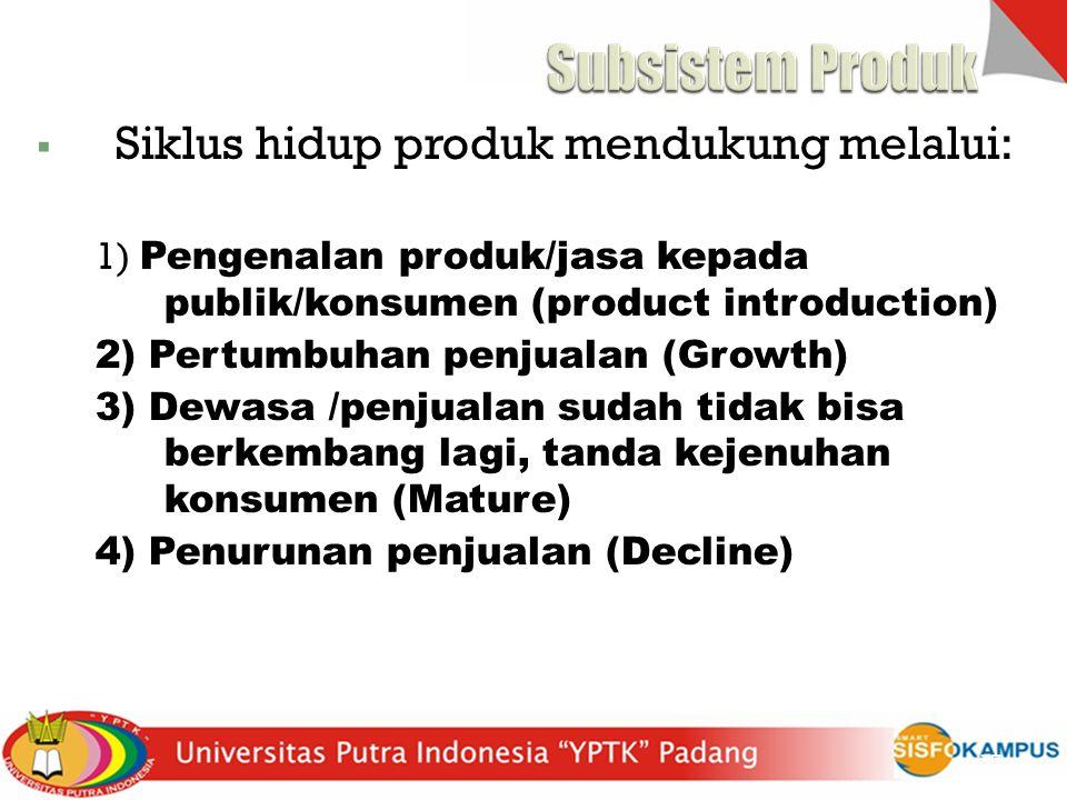  Siklus hidup produk mendukung melalui: 1) Pengenalan produk/jasa kepada publik/konsumen (product introduction) 2) Pertumbuhan penjualan (Growth) 3)