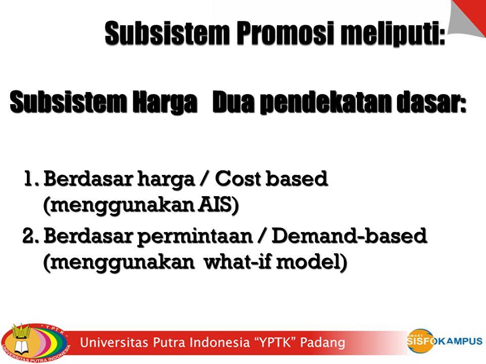 (1) iklan (2) Penjualan perseorangan (personal selling) (3) Promosi penjualan (sales promotion) 23 Subsistem Harga Dua pendekatan dasar: 1. Berdasar h