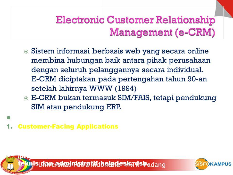  Sistem informasi berbasis web yang secara online membina hubungan baik antara pihak perusahaan dengan seluruh pelanggannya secara individual. E-CRM