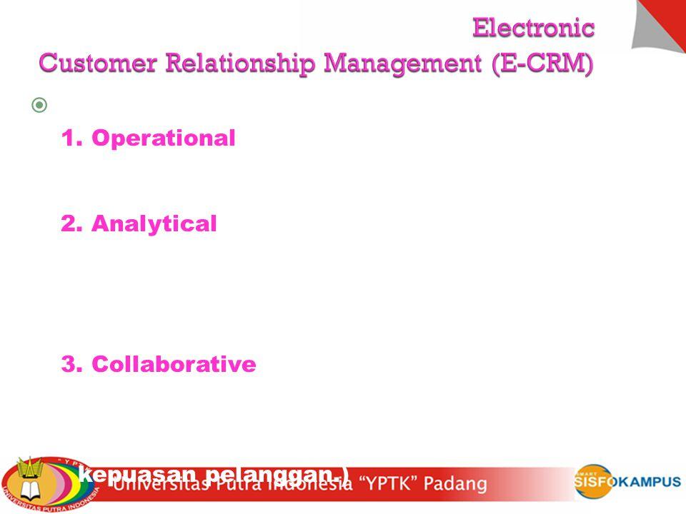  Aktivitas e-CRM 1. Operational CRM (layanan-layanan lengkap prajual, layanan transaksi jual beli e- commerce, penagihan, dsb) 2. Analytical CRM (men