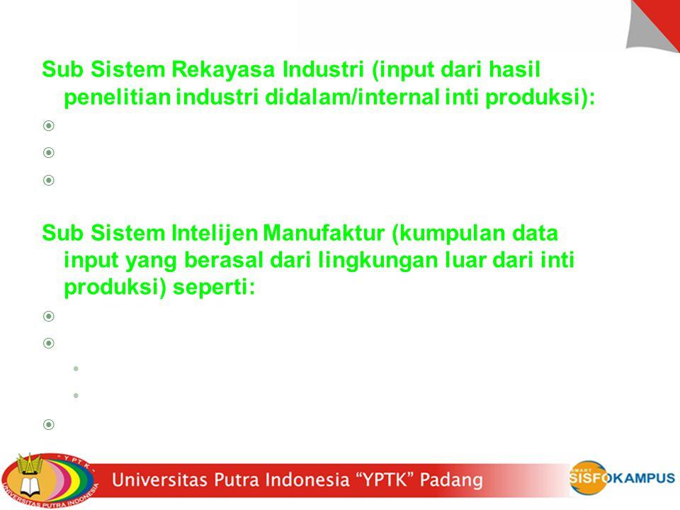 Sub Sistem Rekayasa Industri (input dari hasil penelitian industri didalam/internal inti produksi):  Teknisi industri (IE)  Mempelajari sistem fisik