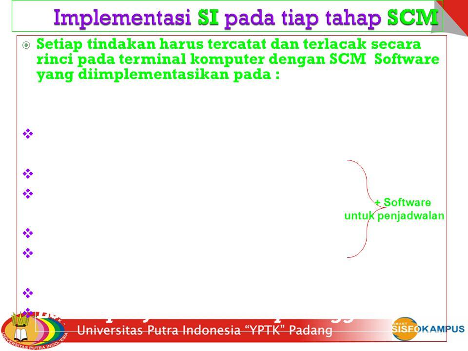  Setiap tindakan harus tercatat dan terlacak secara rinci pada terminal komputer dengan SCM Software yang diimplementasikan pada :  Lokasi pemasok I