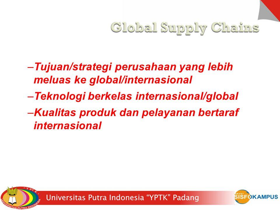 Perusahaan masuk ke global dengan alasan : –Tujuan/strategi perusahaan yang lebih meluas ke global/internasional –Teknologi berkelas internasional/glo