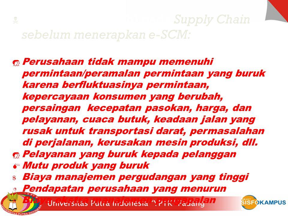 N Ancaman (masalah) pada Supply Chain sebelum menerapkan e-SCM:  Perusahaan tidak mampu memenuhi permintaan/peramalan permintaan yang buruk karena be
