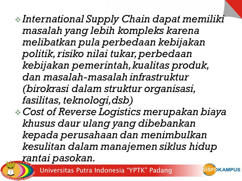  International Supply Chain dapat memiliki masalah yang lebih kompleks karena melibatkan pula perbedaan kebijakan politik, risiko nilai tukar, perbed