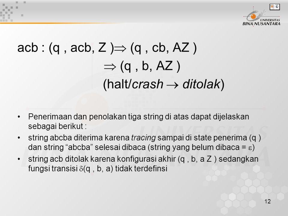 acb : (q, acb, Z )  (q, cb, AZ )  (q, b, AZ ) (halt/crash  ditolak) Penerimaan dan penolakan tiga string di atas dapat dijelaskan sebagai berikut :