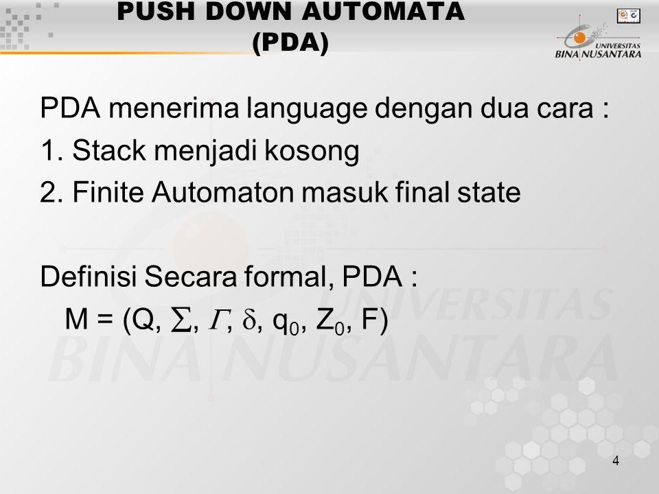 4 PUSH DOWN AUTOMATA (PDA) PDA menerima language dengan dua cara : 1. Stack menjadi kosong 2. Finite Automaton masuk final state Definisi Secara forma