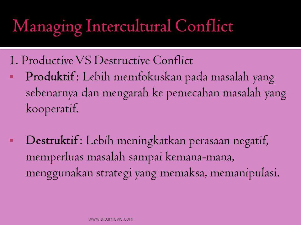 1. Productive VS Destructive Conflict  Produktif : Lebih memfokuskan pada masalah yang sebenarnya dan mengarah ke pemecahan masalah yang kooperatif.