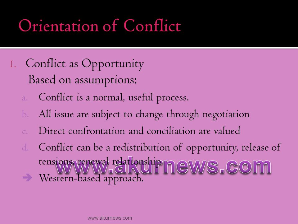 2.Conflict as Destructive  It may rooted from spiritual or cultural values.