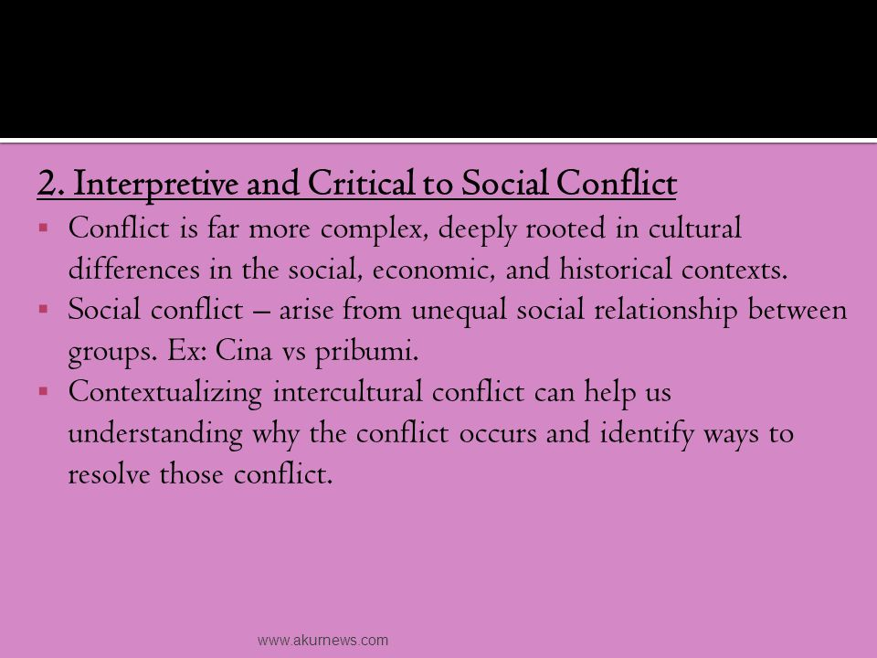 a.Social Context - How we manage conflict may depend on particular context.