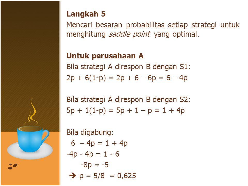 Apabila p = 0, 625, maka 1 – p = 0,375 Masukkan nilai tersebut pada kedua persamaan Keuntungan yang diharapkan adalah sama = 3,5 yang berarti memberikan peningkatan 1,5 mengingat keuntungan A hanya 2 (langkah 1) PENYELESAIAN
