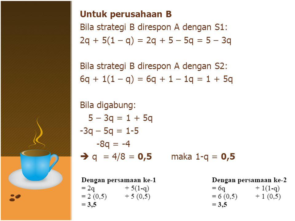 Untuk perusahaan B Bila strategi B direspon A dengan S1: 2q + 5(1 – q) = 2q + 5 – 5q = 5 – 3q Bila strategi B direspon A dengan S2: 6q + 1(1 – q) = 6q + 1 – 1q = 1 + 5q Bila digabung: 5 – 3q = 1 + 5q -3q – 5q = 1-5 -8q = -4  q = 4/8 = 0,5 maka 1-q = 0,5 Masukkan ke persamaan