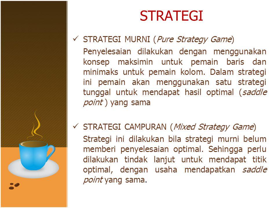 STRATEGI STRATEGI MURNI (Pure Strategy Game) Penyelesaian dilakukan dengan menggunakan konsep maksimin untuk pemain baris dan minimaks untuk pemain kolom.